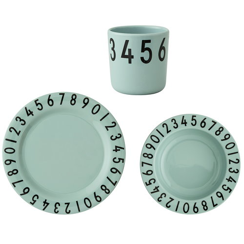 Design Letters Melamine the numbers gift set, green