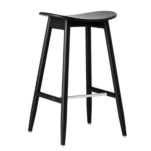 Massproductions Icha bar stool, 65 cm, black stained oak
