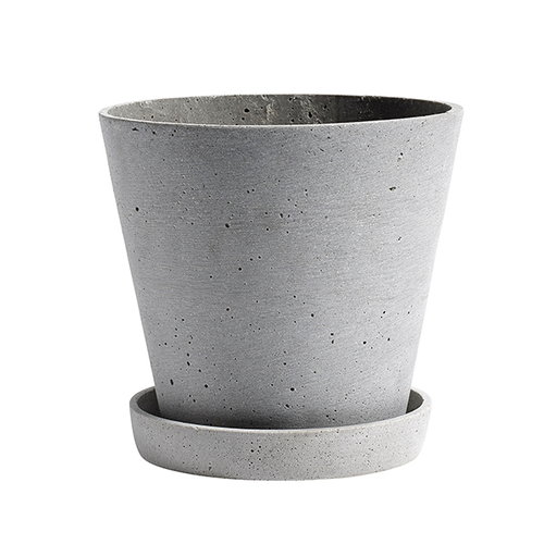 Hay Flowerpot and saucer, L, grey