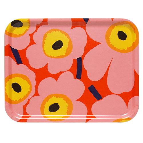 Marimekko Pieni Unikko tray, orange - pink - yellow