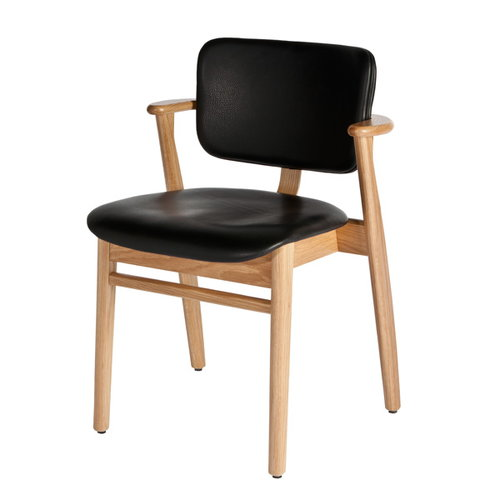 Artek Domus chair, lacquered oak, black leather upholstered