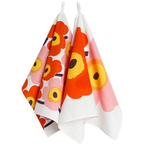 Marimekko  Unikko tea towel, 2 pcs, white - orange - pink