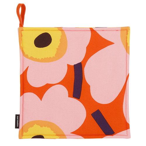Marimekko Pieni Unikko pannulappu, oranssi - pinkki - keltainen