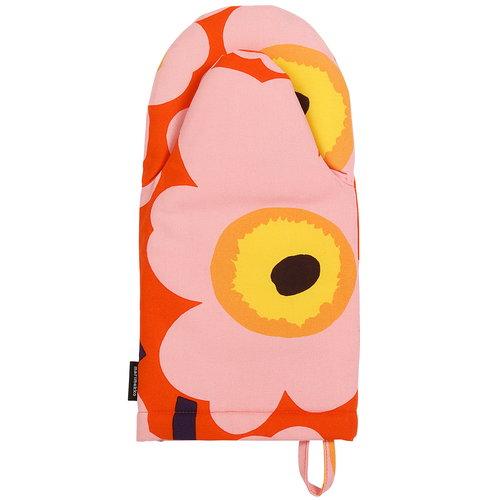 Marimekko Pieni Unikko oven mitten, orange - pink - yellow