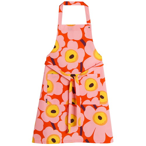 Marimekko Pieni Unikko apron, orange - pink - yellow