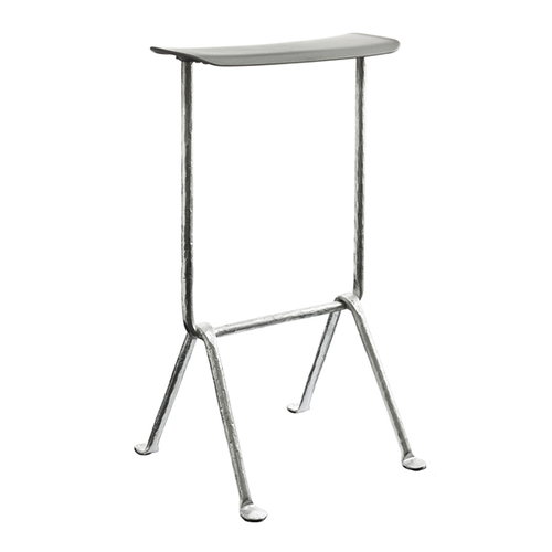 Magis Officina bar stool, medium, galvanized, metallised grey