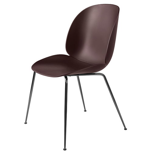 Gubi Beetle chair, black chrome / dark pink