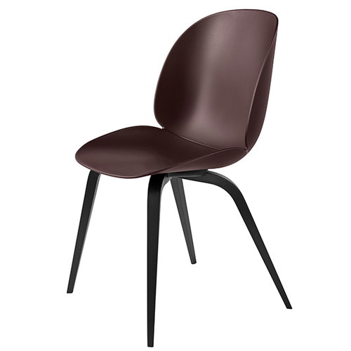 Gubi Beetle chair, black beech / dark pink