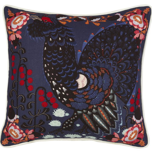 Klaus Haapaniemi Grouse in the woods cushion cover, blue