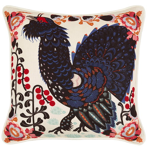 Klaus Haapaniemi Grouse in the woods cushion cover, white