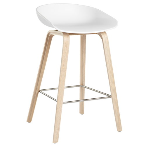 Hay About a Stool bar stool, AAS32, white - soaped oak