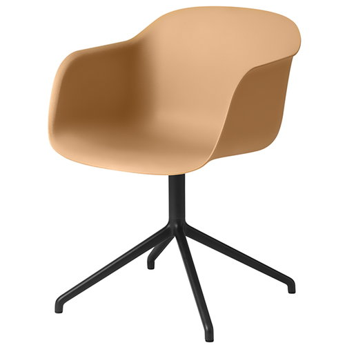 Muuto Fiber armchair, swivel base, ochre/black