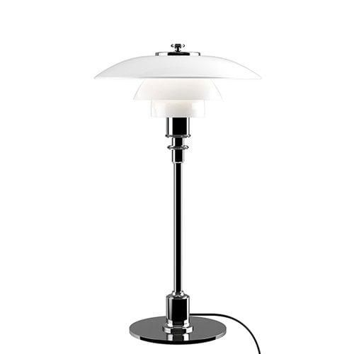 Louis Poulsen Lampada da tavolo PH 2/1, cromata, vetro opalino