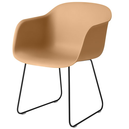 Muuto Fiber armchair, sled base, ochre/black