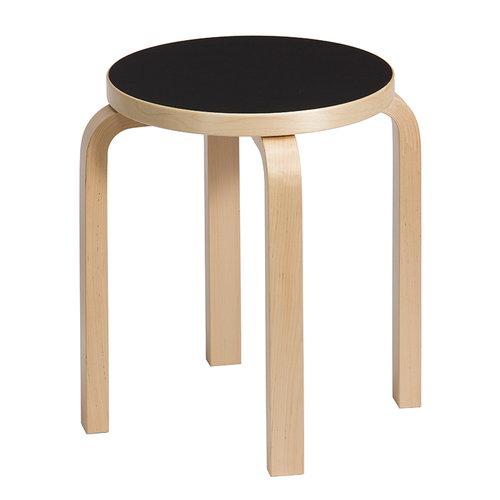 Artek Aalto stool E60, black linoleum