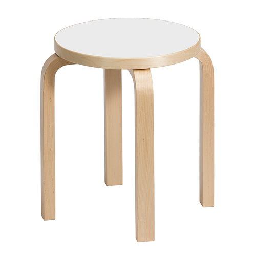 Artek Aalto stool E60, white laminate