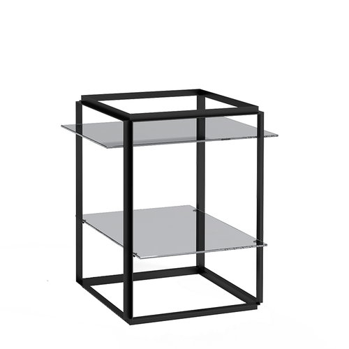 New Works Florence side table, black - smoked glass