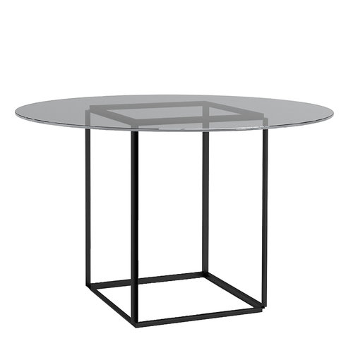 New Works Florence dining table, black - smoked glass