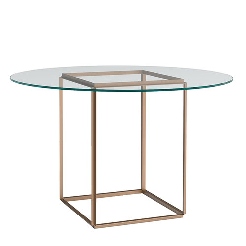 New Works Florence dining table, gold - clear glass