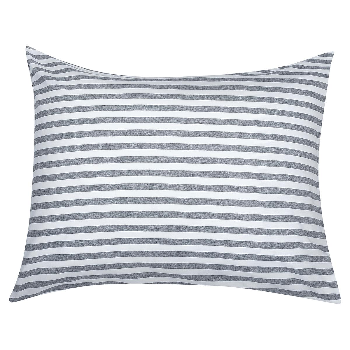 Marimekko Tasaraita Pillowcase, Grey - White