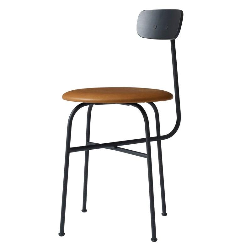 Menu Afteroom 4 tuoli, musta, ruskea nahkaverhoilu