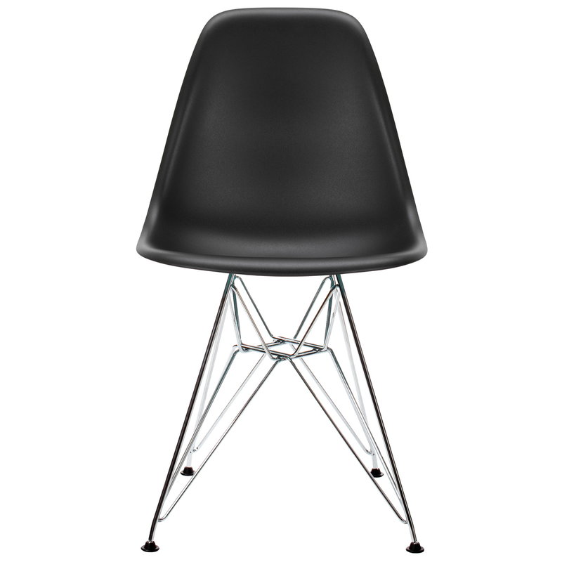 Vitra Eames DSR chair, deep black - chrome