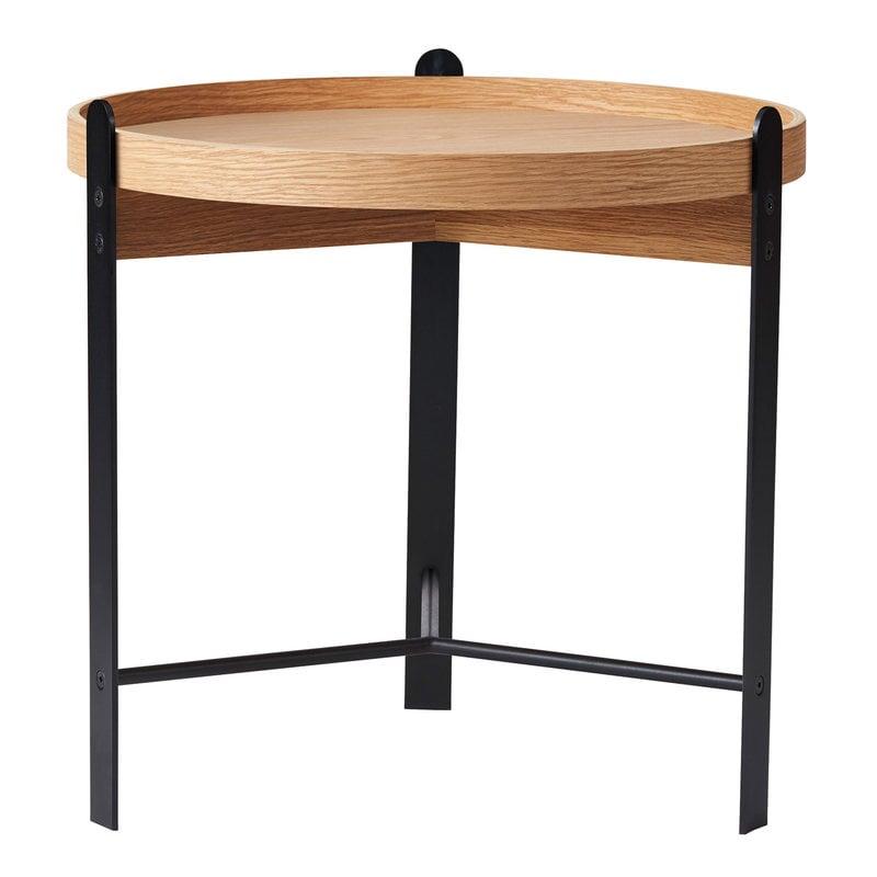 Warm Nordic Compose side table, 50 cm, white oiled oak - black