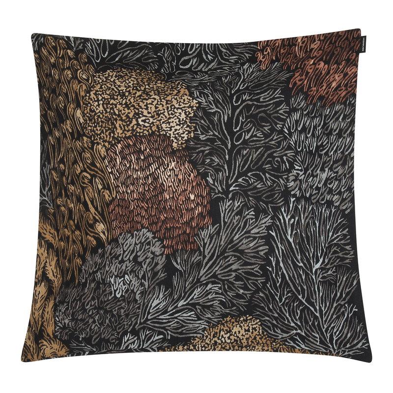 Marimekko Poronjäkälä cushion cover 50 x 50 cm, black-brown-grey