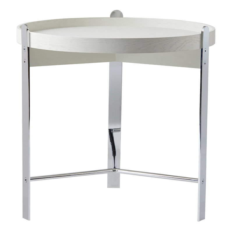 Warm Nordic Compose side table, 50 cm, white - chrome