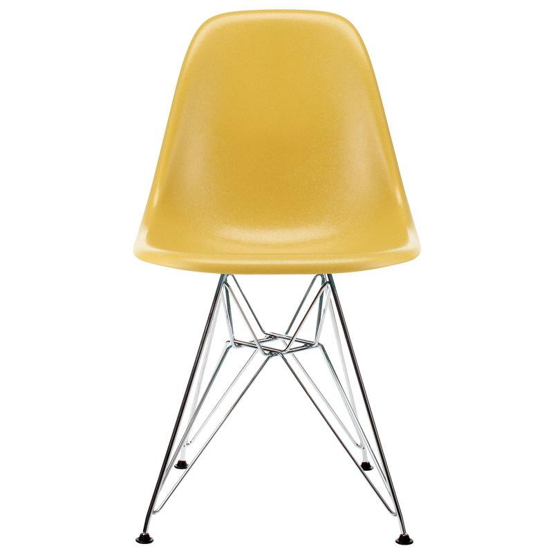 Vitra Eames DSR Fiberglass chair, light ochre - chrome