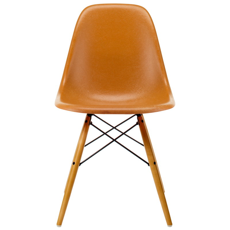 Vitra Eames DSW Fiberglass chair, dark ochre - maple