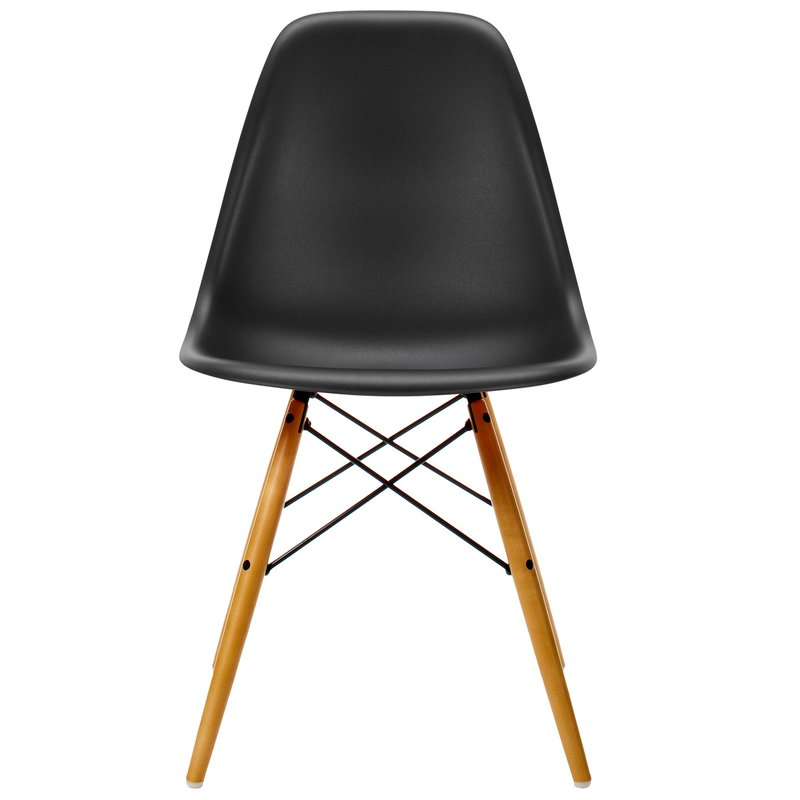Vitra Eames DSW chair, deep black - maple