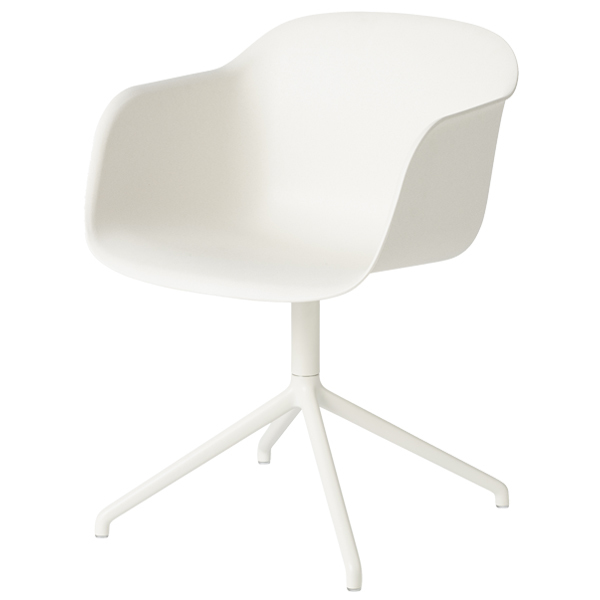 Muuto Fiber armchair, swivel base, natural white - white