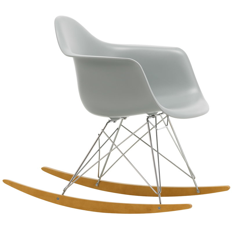 Vitra Eames RAR rocking chair, light grey - chrome - maple