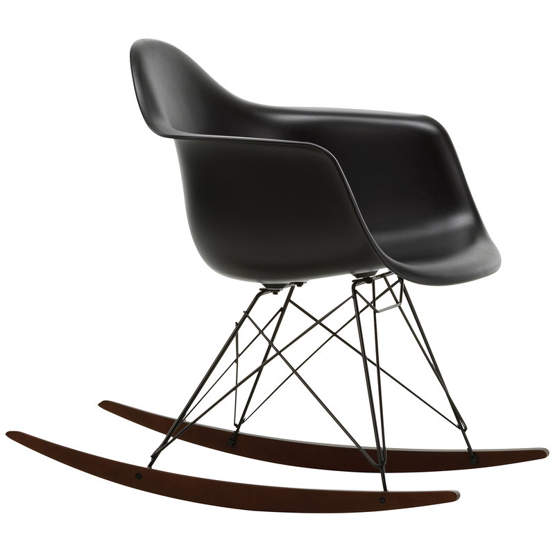 Vitra Sedia a dondolo Eames RAR, deep black - basic dark - acero scuro