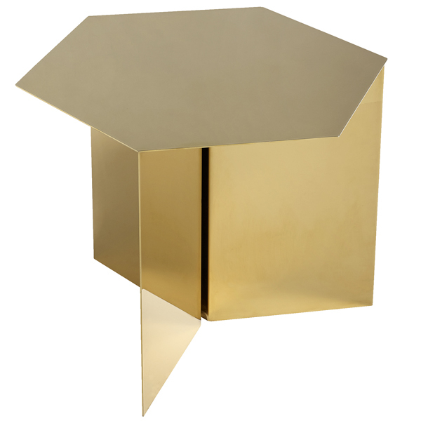 Hay Slit table, hexagon, brass