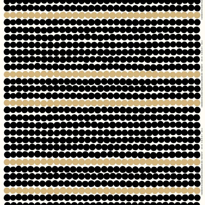 Marimekko Räsymatto fabric, gold-black-white