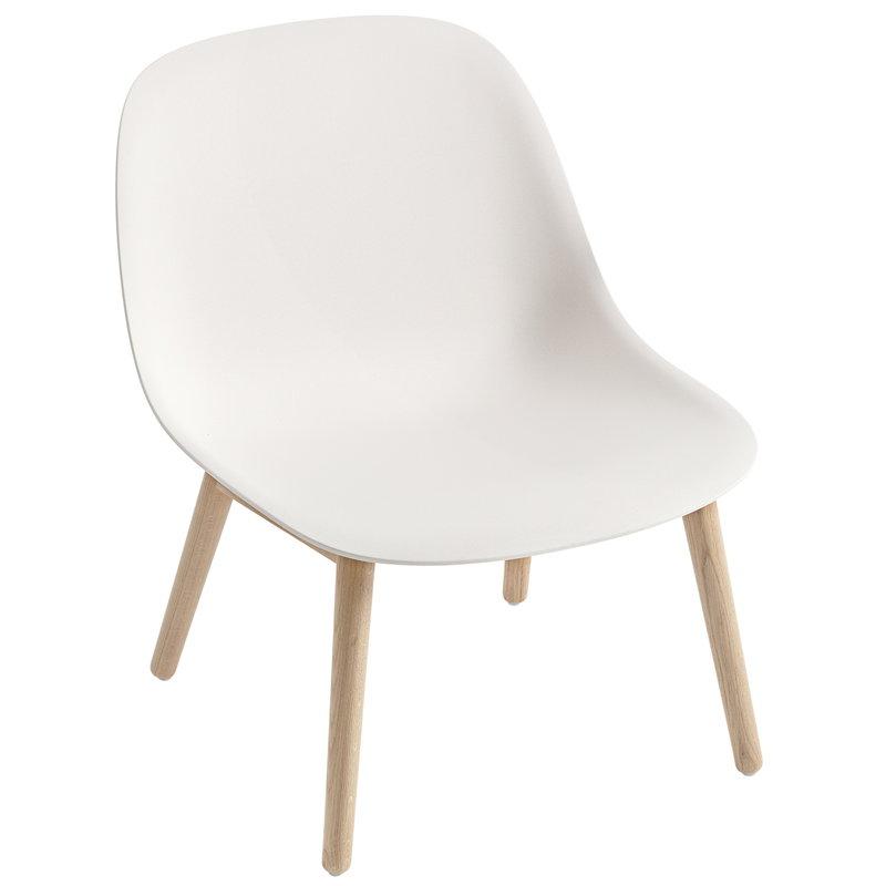 Muuto Fiber lounge chair, wood base, white - oak