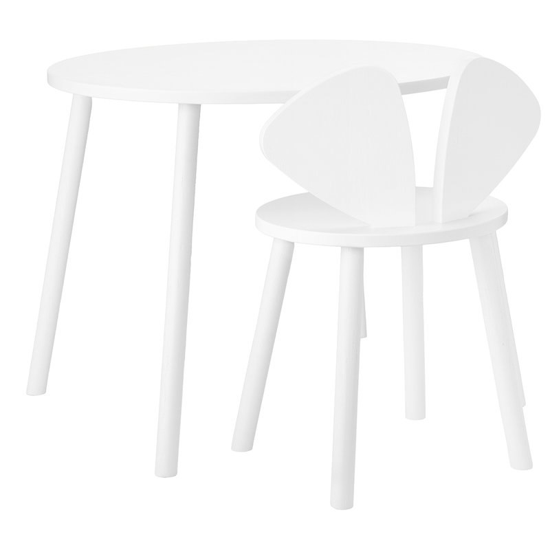 Nofred Mouse school set, table 58 cm, chair 40 cm, white