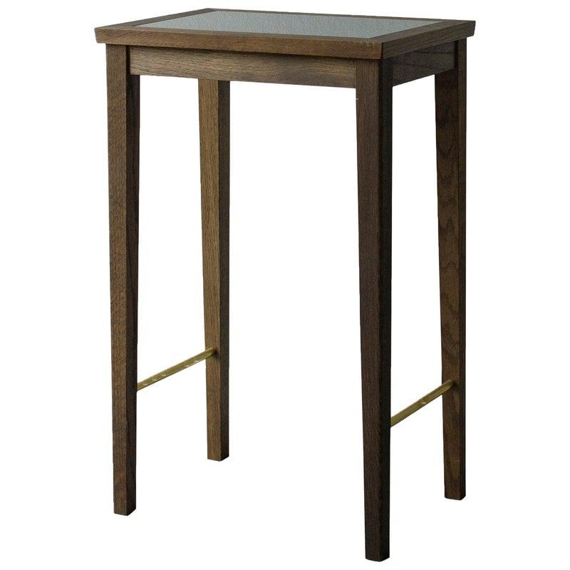 Sibast No 1 side table, 35 x 25 cm, dark oiled oak - black glass