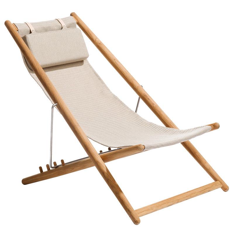 Skargaarden H55 easy chair, teak - beige Sunbrella