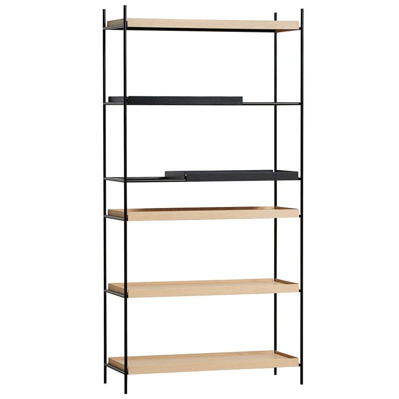 Woud Tray shelf, high, 2 black - 4 oak