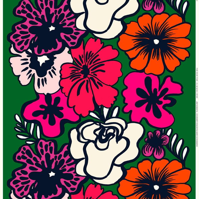 Marimekko Eläköön elämä fabric, dark green-red-off white