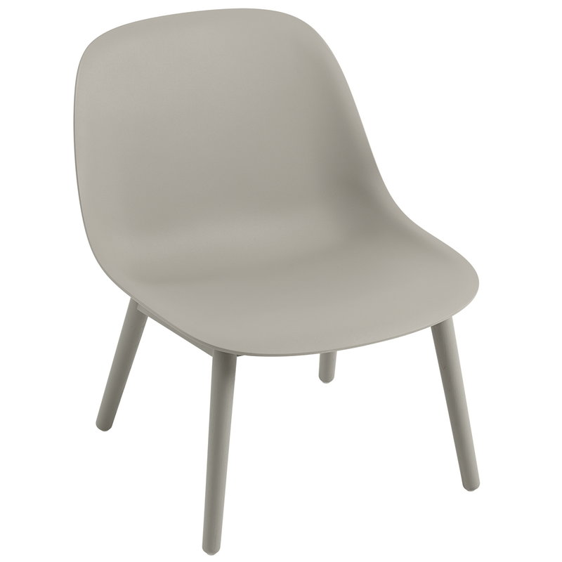 Muuto Fiber nojatuoli, puujalat, harmaa