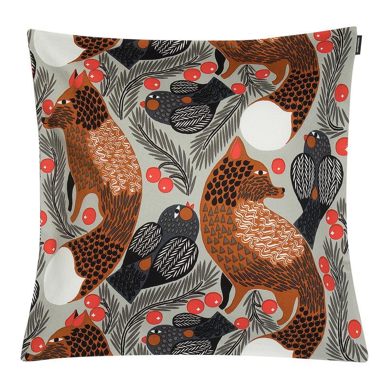 Marimekko Ketunmarja tyynynpäällinen 45 x 45 cm, vaaleanharmaa-punaruskea