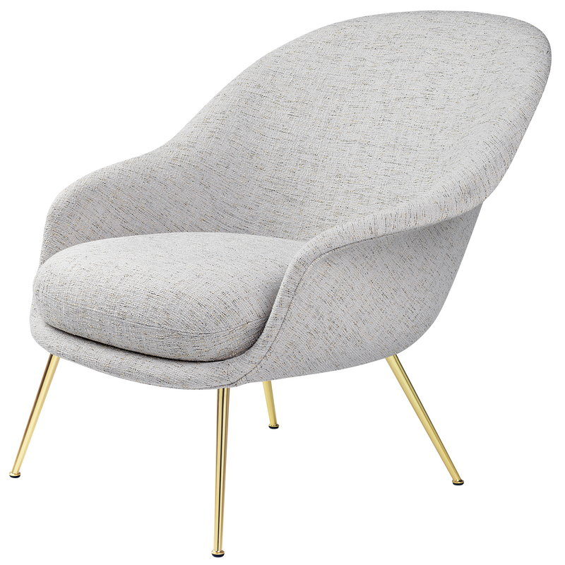Gubi Bat lounge chair, low, Sonar 3/124 - brass base
