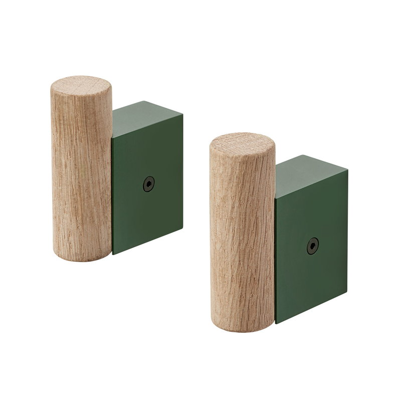 Muuto Attach coat hook 2 pcs, dark green - oak