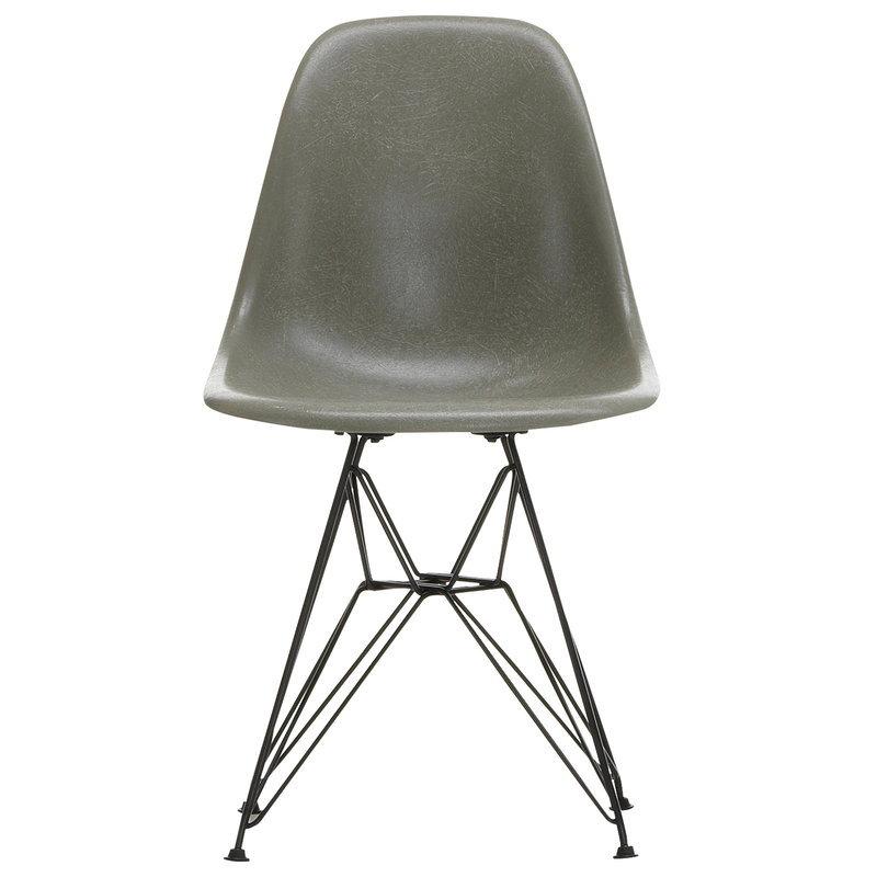 Eames DSR Fiberglass Chair, raw umber - black
