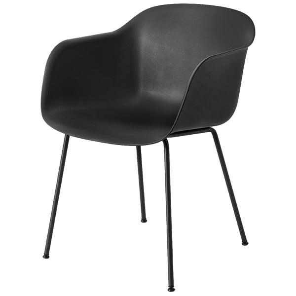 Muuto Fiber tuoli käsinojilla, putkijalat, musta