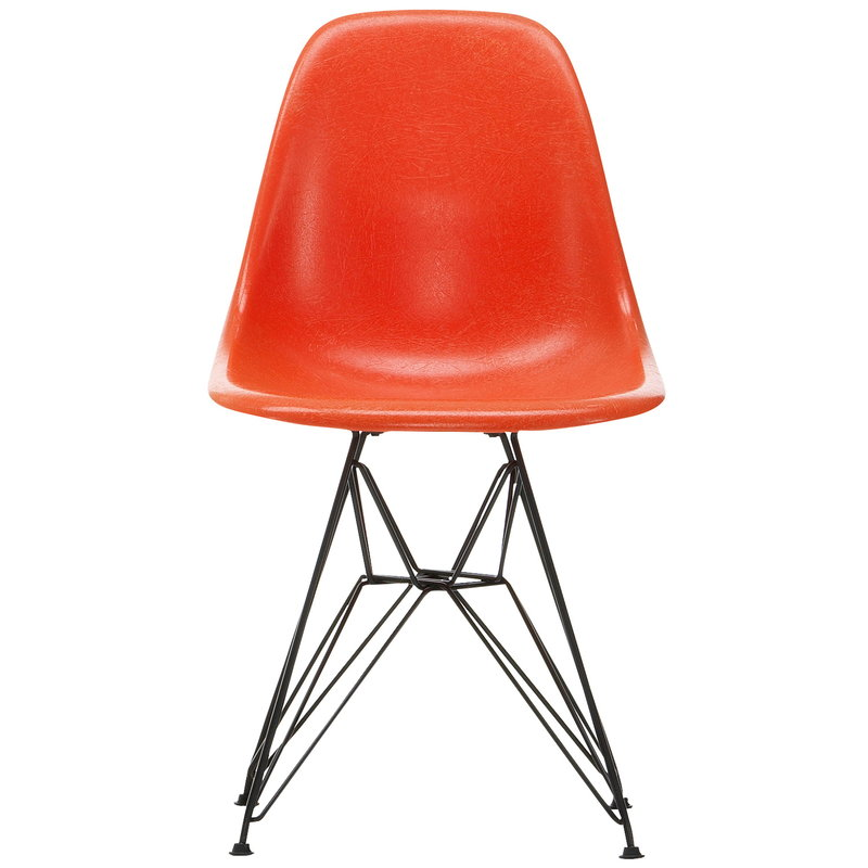 Vitra Sedia Eames DSR Fiberglass, red orange - nero